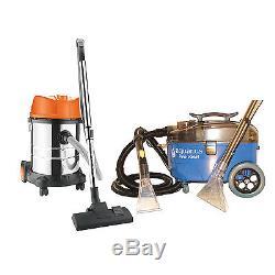 Aquarius Pro Valet Carpet Upholstery Cleaner & 28L 1400W Wet Dry Vacuum Kit