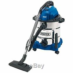 Draper 30L 1600W Wet & Dry Vacuum Cleaner with Integrated 230V Power Socket