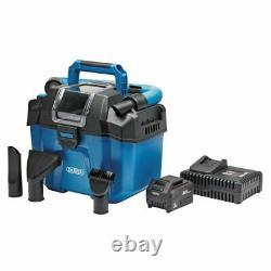 Draper D20 20V Cordless Wet & Dry Vacuum Cleaner + Battery & Fast Charger, 95169