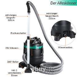 Dry and Wet Vacuum Cleaner 35L Container 1400W Long Suction Pipe 10 Accessories