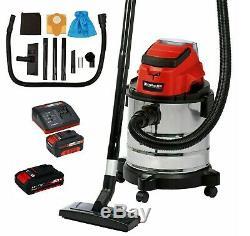 Einhell 18v Cordless Li-ion Wet & Dry Home Workshop Vacuum Cleaner Hoover 2 Batt