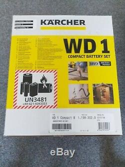 Karcher WD 1 18v Cordless Wet and Dry Vacuum Cleaner compact battery set