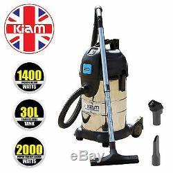 Kiam KV30PT Industrial 30L 1400W Wet & Dry Vacuum Cleaner 2000W Power Take Off