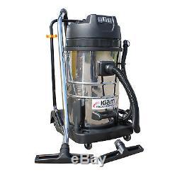 Kiam KV80-3 80L Industrial 3 Motor 3600W Wet & Dry Vacuum Cleaner Gutter Hoover