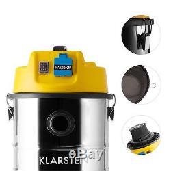 Klarstein 30 L Wet Dry Vacuum Cleaner Industrial Shop Vac 1800w Stainless Steel
