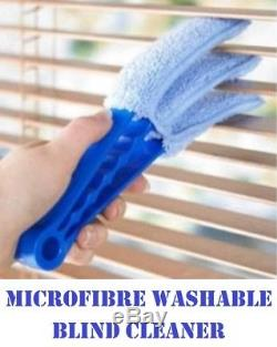 Microfibre Venetian Blind Cleaner 3 Pronged Washable Duster Slate Wet Or Dry