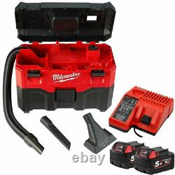 Milwaukee M18VC2 18V Wet/Dry Vacuum Cleaner With 2 x 5.0Ah Batteries & Charger