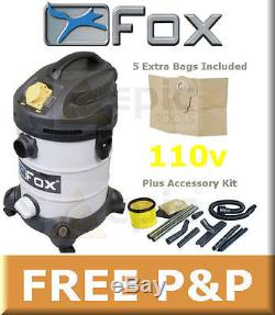 NEW FOX 30Ltr 110v Wet/Dry Hoover/Vacuum/Vac Cleaner+Accessory Kit+Bags F50-800