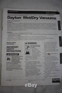 NOS NEW Dayton Single Stage Wet/Dry Vacuum Cleaner 6 HP 25 Gallon 6Z095B