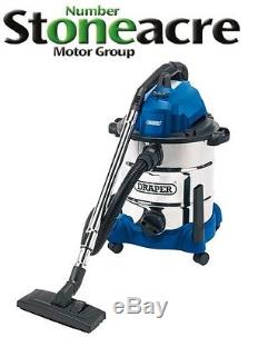 New Draper 1400W Wet & Dry Vacuum Cleaner With Integrated 230V Socket 54257