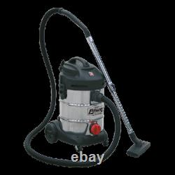 PC300SD Sealey Vacuum Cleaner Industrial 30ltr 1400With230V Stainless Bin