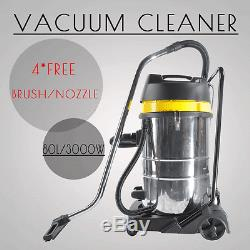 Powerful 3000W Wet Dry Vacuum Cleaner Industrial Shop Vac Stainless Steel 80L