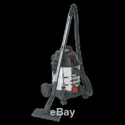 Sealey Vacuum Cleaner Industrial Wet & Dry 20ltr 1250With230V Stainless Drum